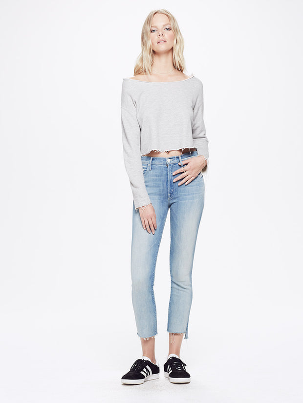 Mother - Crop Cold Shoulder Fray Knit A Love Song
