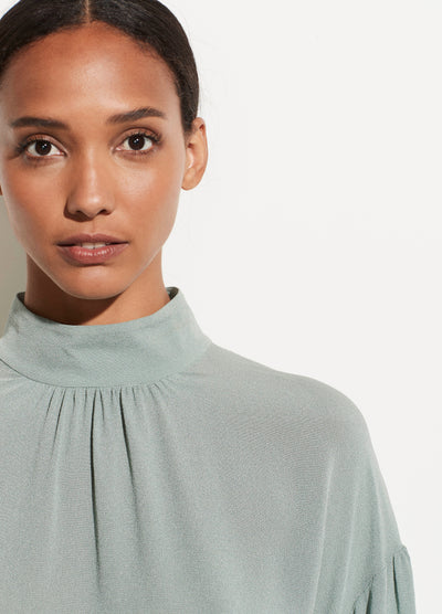 Vince - Shirred Mock Neck Blouse in Lt. Patina