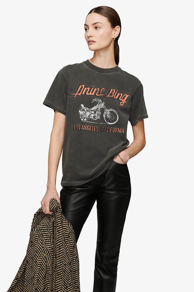 Anine Bing - Lili Tee Motorcycle in Washed Grey