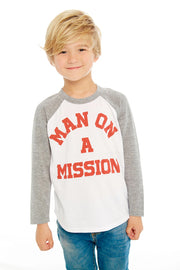 "CHASER KIDS - Boys Blocked Baseball T ""Man On A Mission"""