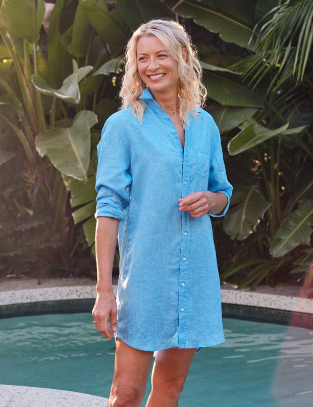 Frank & Eileen - Mary Woven Button Up Dress in Bright Turquoise Linen
