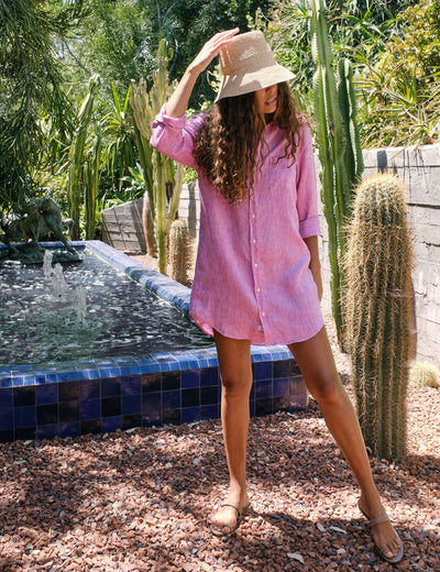 Frank & Eileen - Mary Woven Button Up Dress in Magenta Linen