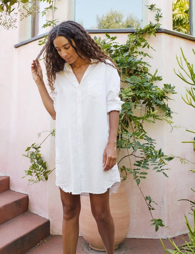 Frank & Eileen - Mary Woven Button Up Dress in White Tattered Denim