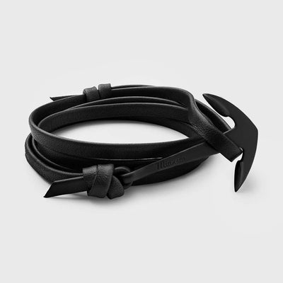 Miansai Anchor On Leather Bracelet Noir/Black at Blond Genius