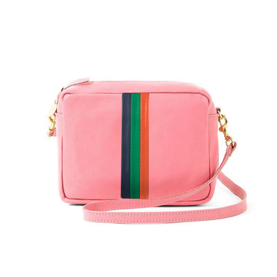 Clare V. - Midi Sac in Petal Rustic w/ Navy, Emerald & Blood Orange Italian Nappa Desert Stripes