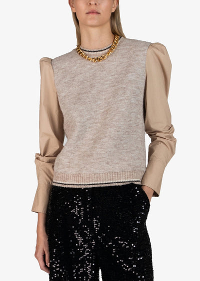 Derek Lam 10 Crosby - Milton Mixed Media Sweater in Khaki