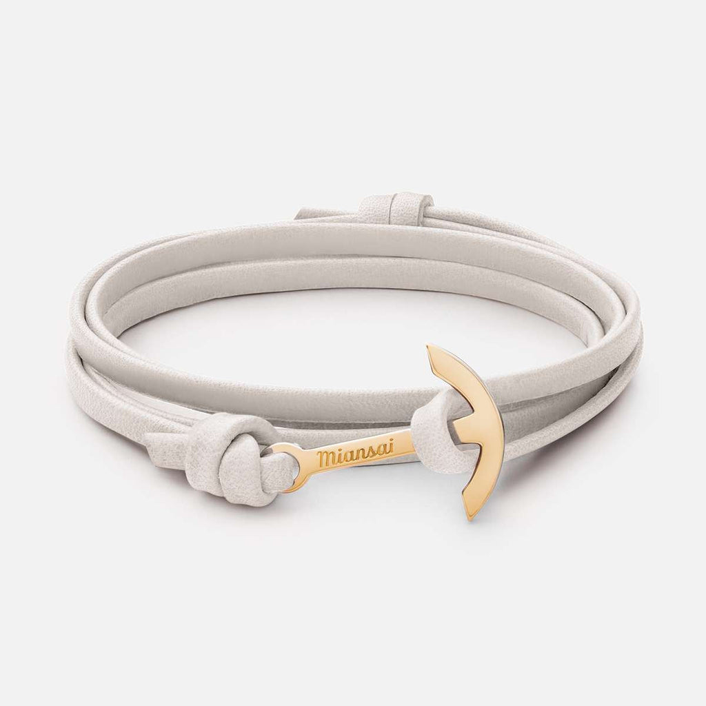 MIANSAI- Mini-Modern Anchor on Thin Leather Bracelet
