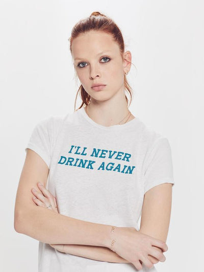 "Mother Denim - The Sinful ""I'll Never Drink Again"" T-Shirt in Chalk"