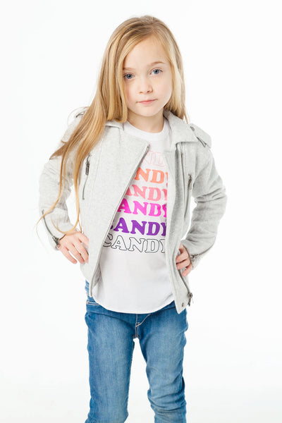 CHASER KIDS - Girls Cotton Fleece Moto Jacket W/ Zippers Heather Grey