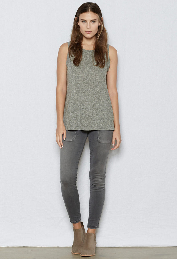 Current/Elliott CEL - The Muscle Tee 2301-0181 Heather Grey at Blond Genius - 2