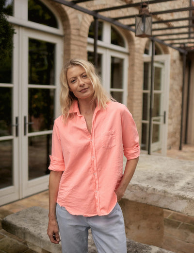 Frank & Eileen - Eileen Button-Down Shirt in Neon Pink Color Denim