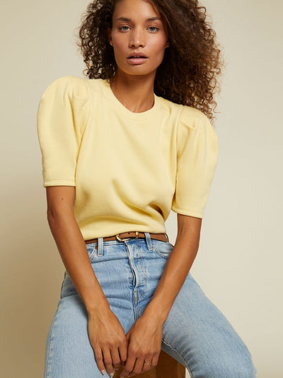 Nation LTD - Olivia Short Sleeve Sweatshirt in Cornsilk