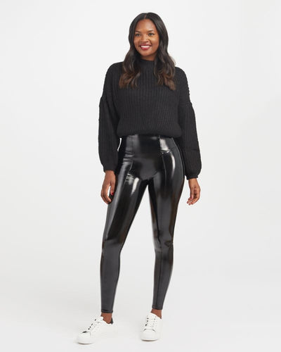 Spanx - Faux Patent Leather Leggings in Classic Black