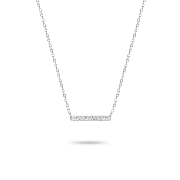 Adina - Pave Bar Necklace in Sterling Silver