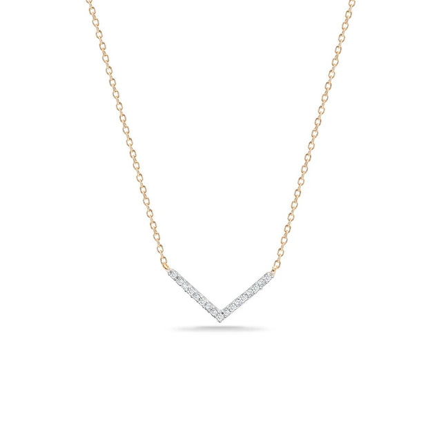 Adina - Tiny Pave V Necklace in Y14K