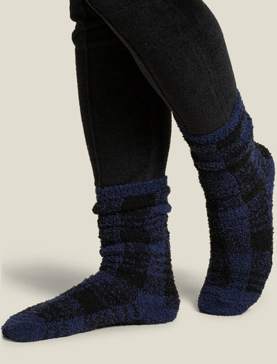 Barefoot Dreams - Cozychic Women's Plaid Sock in Indigo-Black