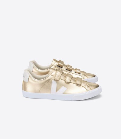 Veja - 3-Lock Logo Leather Sneakers in Platine White