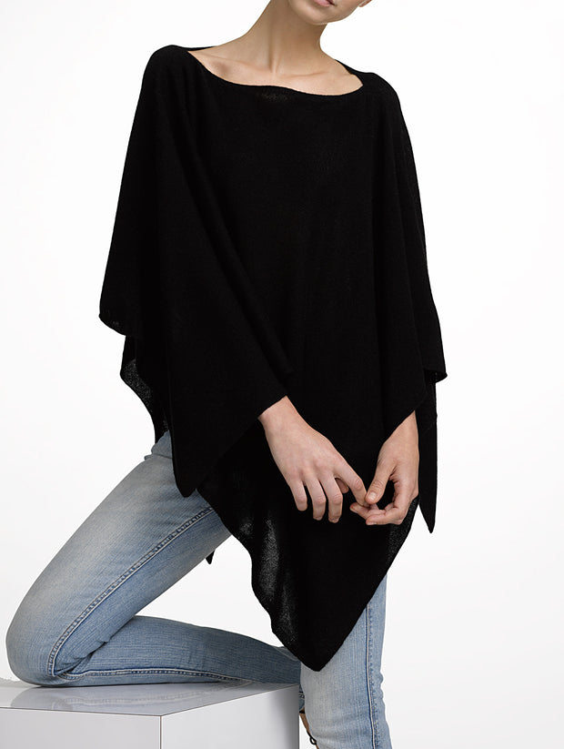 White + Warren Asymmetrical Poncho Jet Black at Blond Genius - 1