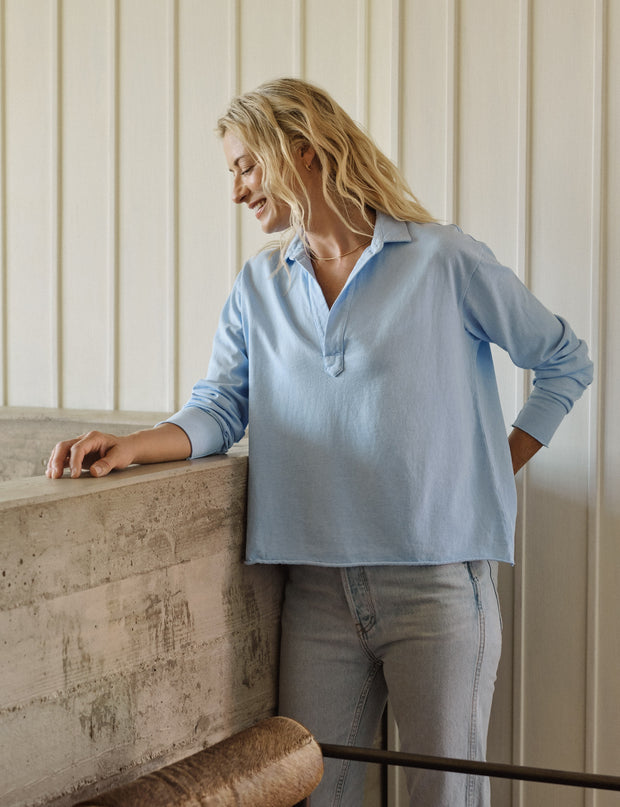 Frank & Eileen - Popover Henley in French Blue