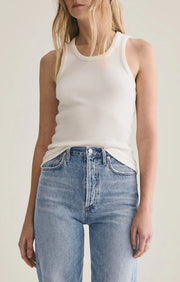 AGoldE - Poppy Scoop Neck Tank in Tissue