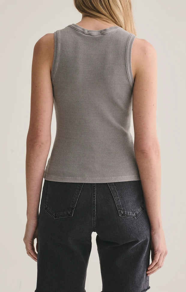AGoldE - Poppy Scoop Neck Tank in Zinc