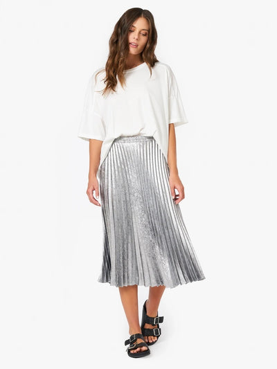 Xirena - Queen Pleated Skirt in Silver