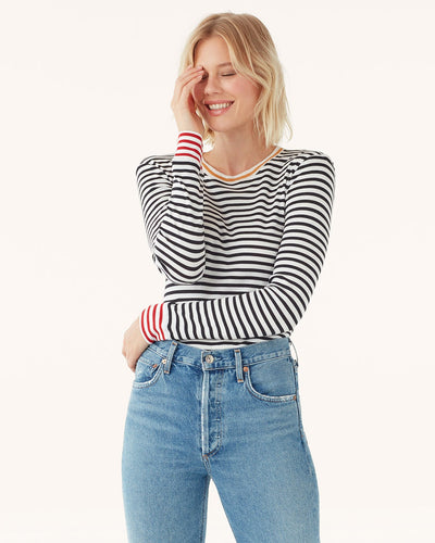 Splendid - Long Sleeve Tee in Black/White Stripe