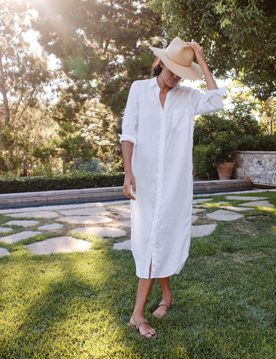 Frank & Eileen - Rory Woven Long Dress in White Lived in Linen