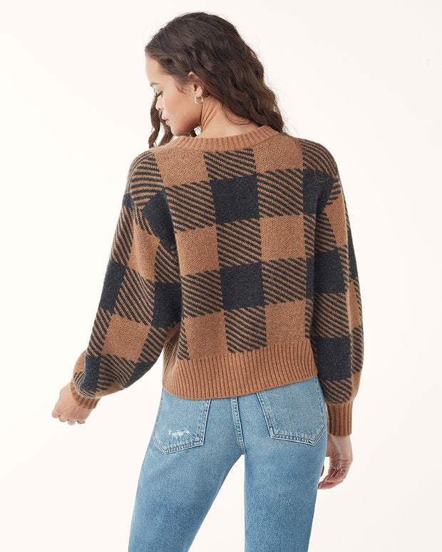 Splendid - Plaid Pullover Sweater in Caramel