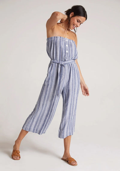 Bella Dahl - Ruffle Strapless Jumpsuit in Navy/White