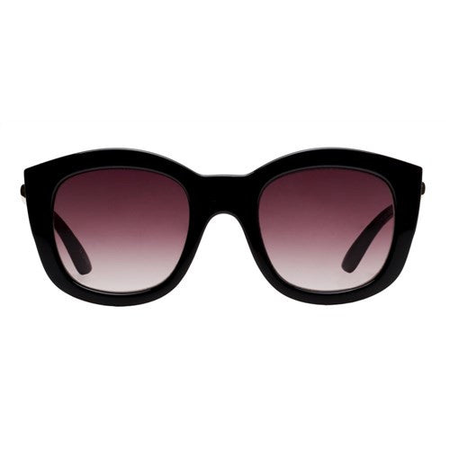 Le Specs Runaways Luxe Black Gold Warm Smoke Grad