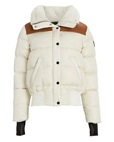 SAM - Sawyer Puffer Jacket in White Cream with Saddle Leather Trim