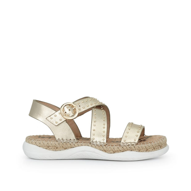 SAM EDELMAN - Janette Sandal in Gold Leather