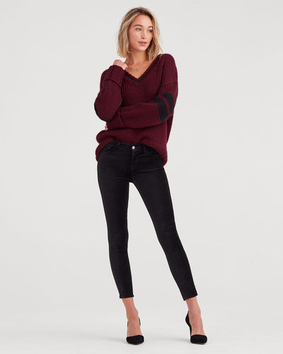 Seven for all Mankind - The Ankle Skinny in Black Crushed Velvet