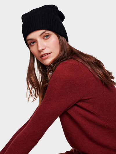 White + Warren - Plush Rib Beanie in Black