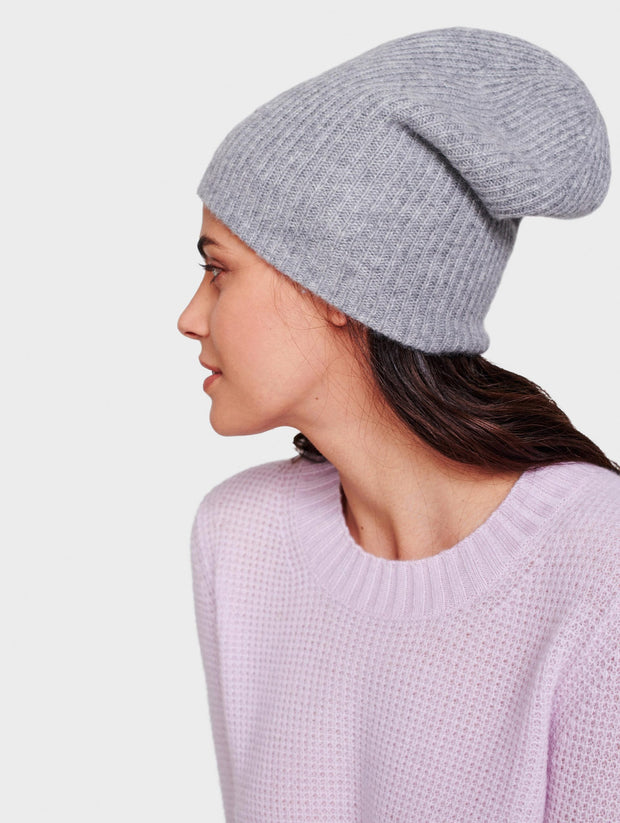 White + Warren - Plush Rib Beanie in Smoke Heather