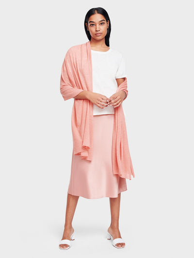 White + Warren - Mini Linen Travel Wrap in Guava Heather