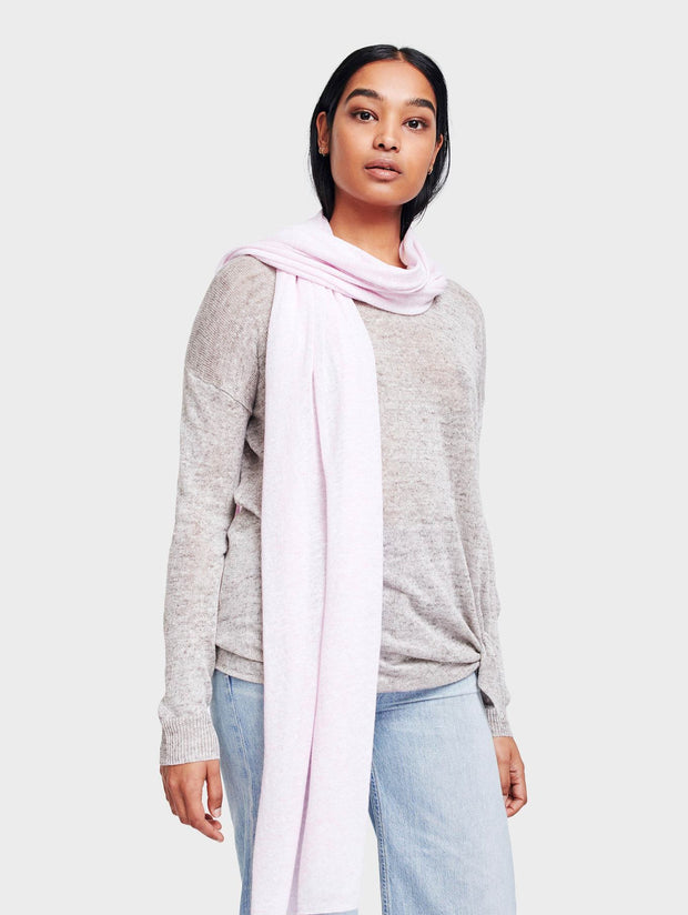 White + Warren - Mini Linen Travel Wrap in Pink Sand Heather