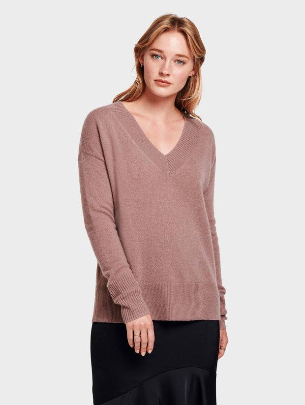 White + Warren - Wide Rib Slouchy V Neck in Smoky Quartz Heather