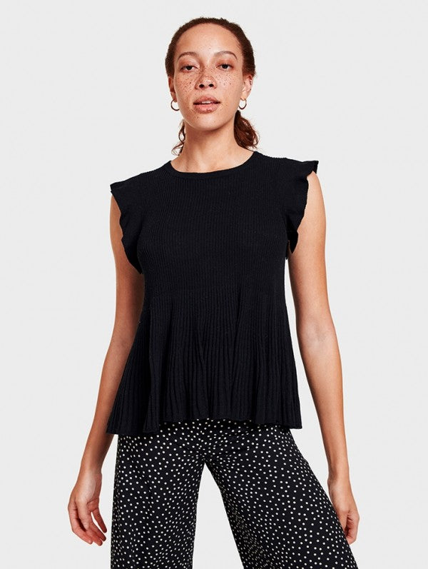 White + Warren - Ribbed Swing Top Pure Black