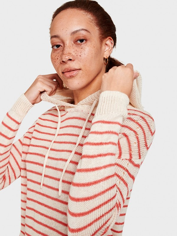 White + Warren - Striped Hoodie Ivory/Red Stripe