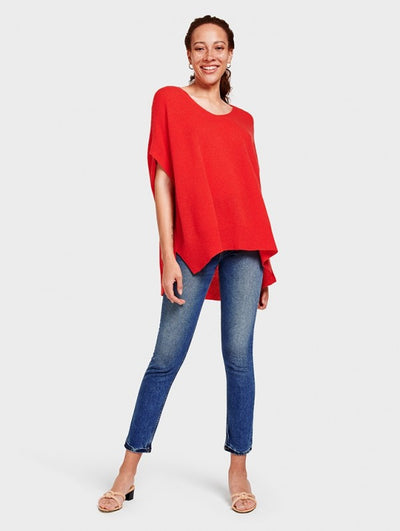 White + Wareen - V Neck Poncho Sunset Red Heather
