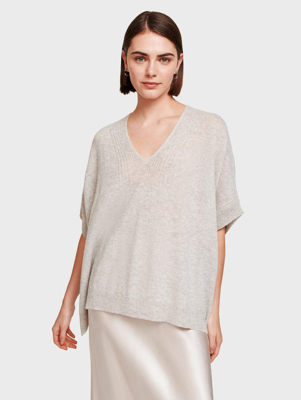 White + Warren - Rib Trim Poncho in Misty Grey Heather