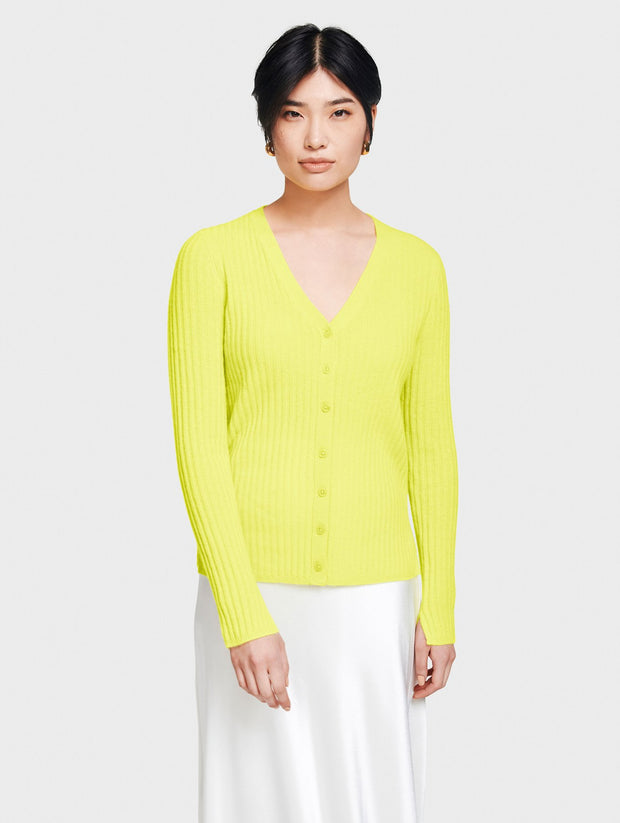 White + Warren - Ribbed Cardi-Top in Neon Daffodil