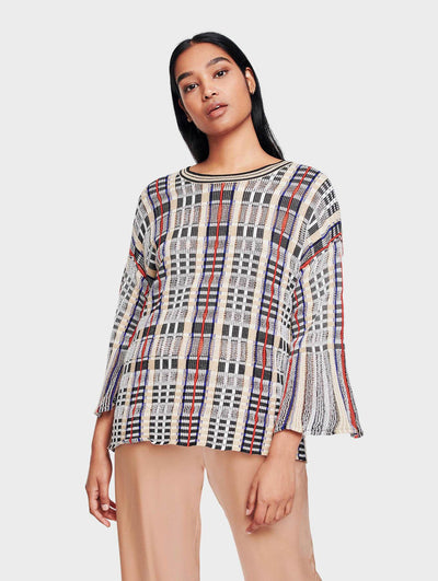 White + Warren - Plaid Flare Sleeve Crewneck Blouse in Bright Multi