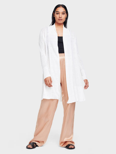 White + Warren - Long Open Cardigan in White