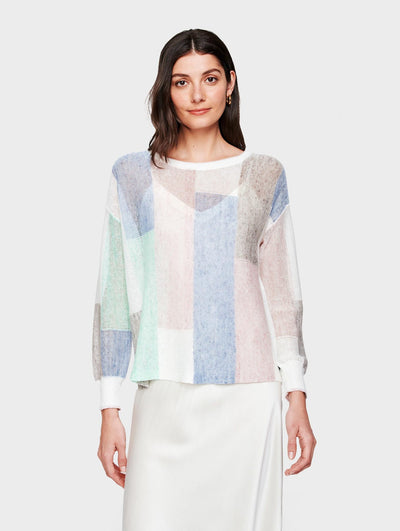 White + Warren - Patchwork Crewneck Sweater in Pastel Combo