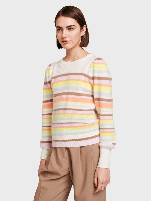 White + Warren - Ribbed Yoke Striped Crewneck in Rainbow Multi