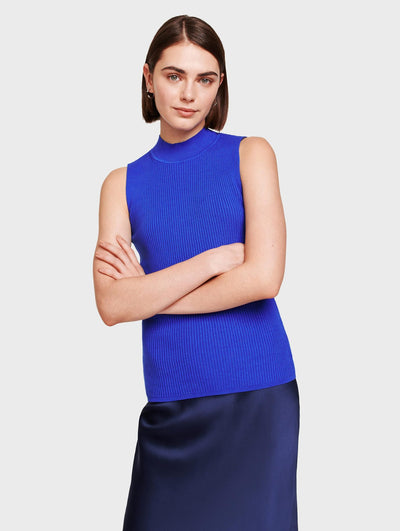 White + Warren - Essential Ribbed Mockneck Tank in Electric Blue