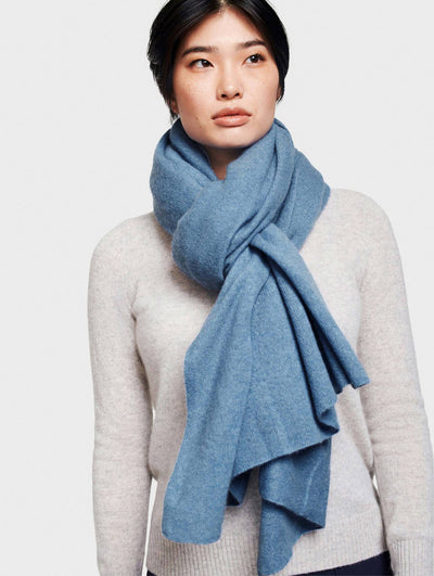 White + Warren - Cashmere Travel Wrap in Prairie Blue Heather